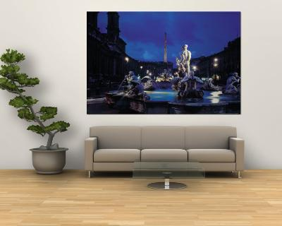 Fountains in the Piazza Navona at Night-Dmitri Kessel-Wall Mural