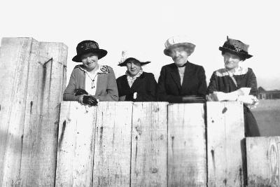 Four Adult Sisters Pose Along a Fence, Ca. 1910--Photographic Print