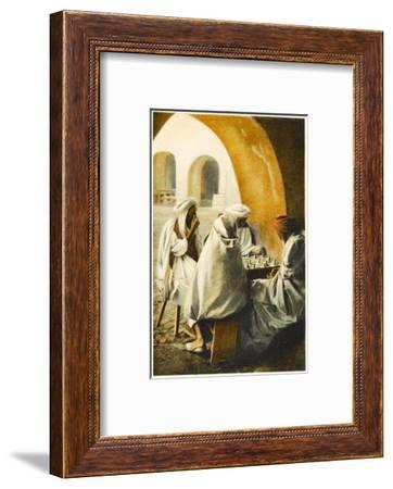 Four Algerian Men Playing Chess in a Shady Section of a Secluded Courtyard--Framed Photographic Print
