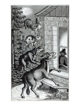 Four Animals Shouting at Window, for 'The Musicians of Bremen Town', Tale by the Brothers Grimm--Giclee Print