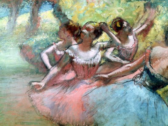 Four Ballerinas on the Stage-Edgar Degas-Giclee Print
