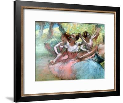 Four Ballerinas on the Stage-Edgar Degas-Framed Giclee Print