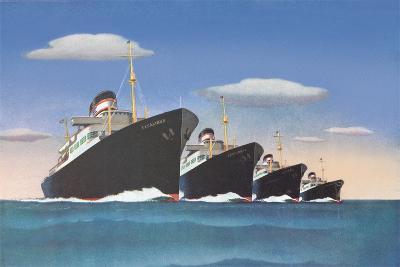 Four Big Ocean Liners--Art Print