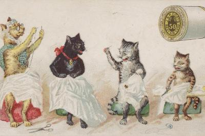 Four Busy Cats Sewing-American School-Giclee Print