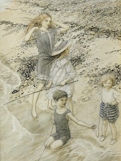 Four Children at the Seashore, 1910 (W/C on Paper)-Arthur Rackham-Giclee Print