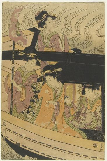 Four Courtesans and an Attendant Girl on Boat-Kikukawa Eizan-Giclee Print