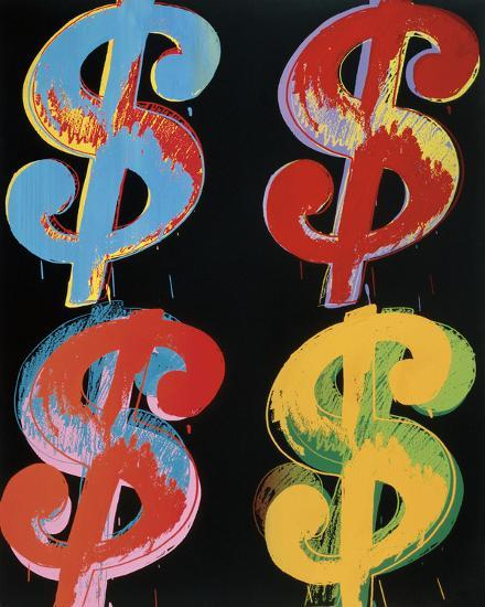 Four Dollar Signs, c.1982 (blue, red, orange, yellow)-Andy Warhol-Art Print