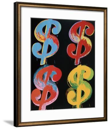 Four Dollar Signs, c.1982 (blue, red, orange, yellow)-Andy Warhol-Framed Art Print