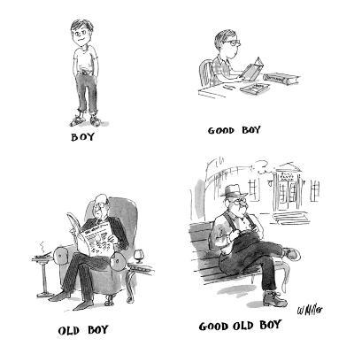 "Four drawings: ""Boy,"" a child; ""Good Boy,"" a child doing his homework; ""Ol? - New Yorker Cartoon-Warren Miller-Premium Giclee Print"