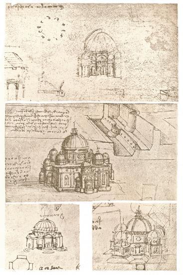 Four drawings of ecclesiastical architecture, c1472-c1519 (1883)-Leonardo da Vinci-Giclee Print