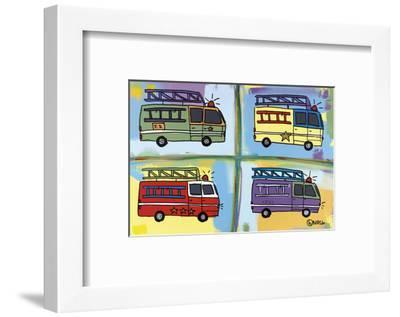 Four Fire Trucks-Brian Nash-Framed Art Print