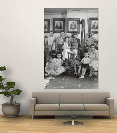 Four Generations of Farmers in Ozark Family Posing in Front of Portraits of Their Fifth Generation-Nina Leen-Wall Mural