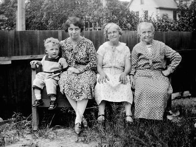 Four Generations Sit for a Portrait, Ca. 1928.-Kirn Vintage Stock-Photographic Print