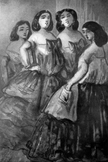 Four Girls, 19th Century-Constantin Guys-Giclee Print