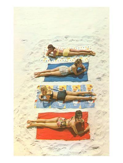 Four Girls on Beach Towels--Art Print