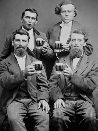 Four Guys and their Mugs of Beer, Ca. 1880--Photographic Print