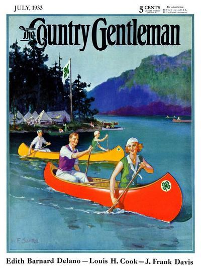 """""""Four-H Camp,"""" Country Gentleman Cover, July 1, 1933-W^F^ Soare-Giclee Print"""