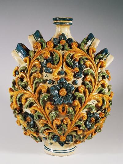 Four-Handled Pilgrim Bottle with 18th Century Style Decoration, Ceramic--Giclee Print