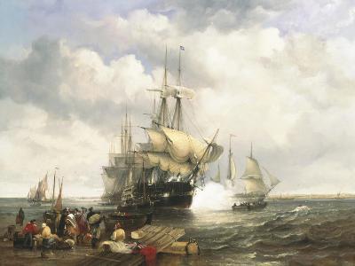 Four Indian Men Preparing to Leave the Lower Thames-John Wilson Carmichael-Giclee Print