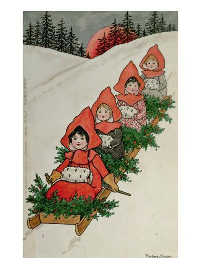 Four Little Girls on a Sledge-Florence Hardy-Giclee Print