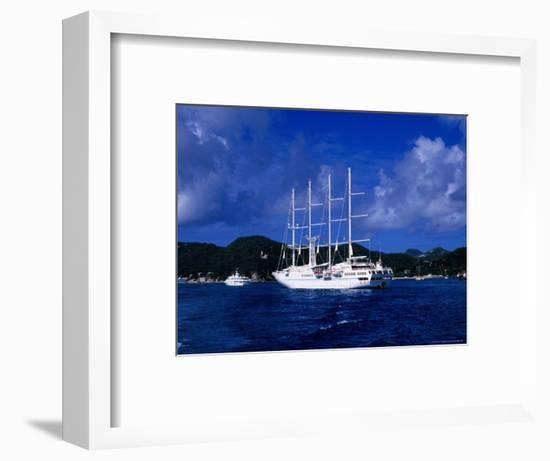 Four-Masted Luxury Yacht in Harbour, St. Barts-Greg Johnston-Framed Photographic Print
