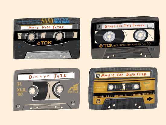 Four Mix Tapes-Mark Ulriksen-Art Print
