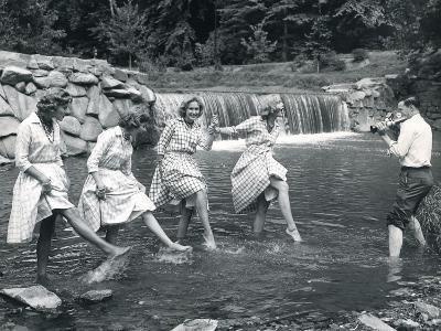Four Models Kicking Water, 1958--Photographic Print