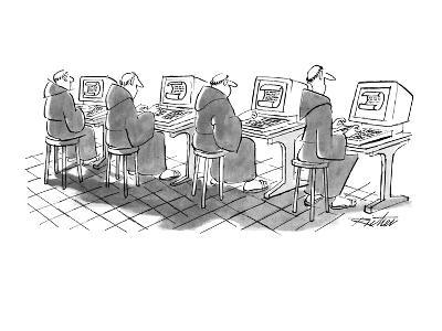 Four monks sit at computer terminals. Parchment scrolls appear on the screens. - New Yorker Cartoon-Mischa Richter-Premium Giclee Print