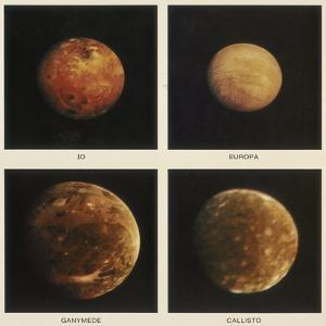 Four Moons of Jupiter. Io, Europa, Ganymede and Callisto, 1979