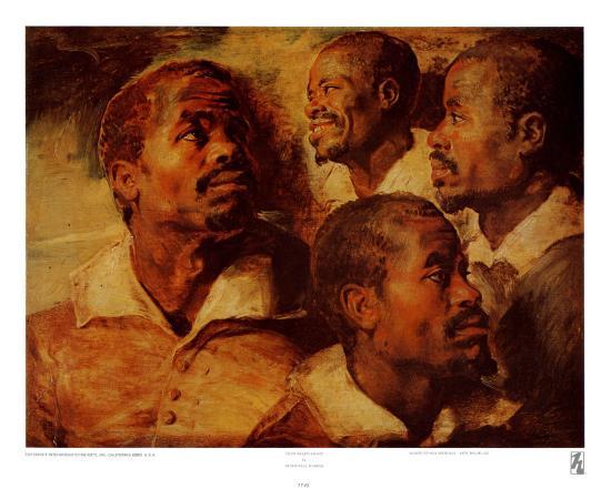 Four Negro Heads-Peter Paul Rubens-Art Print