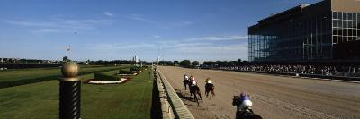 Four People Participating in a Horse Race, Calder Race Course, Miami Gardens, Miami-Dade County--Photographic Print
