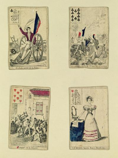 Four Playing Cards Commemorating the Heroes of July 1830, 1831--Giclee Print