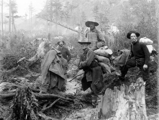 Four Prospectors Posed on Trail in Alaska During the Yukon Gold Rush in 1897--Photo