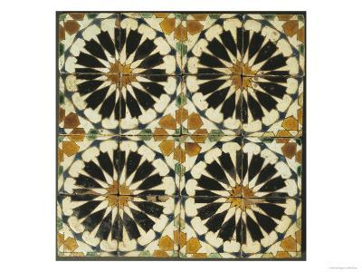 Four Roundels with Oar Shaped Segments with Star on Panel of Sixteen Tiles, 14th Century--Premium Giclee Print