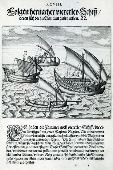 Four Sailing Boats from 'India Orientalis', 1598-Theodore de Bry-Giclee Print