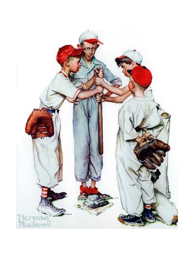 Four Sporting Boys: Baseball-Norman Rockwell-Giclee Print