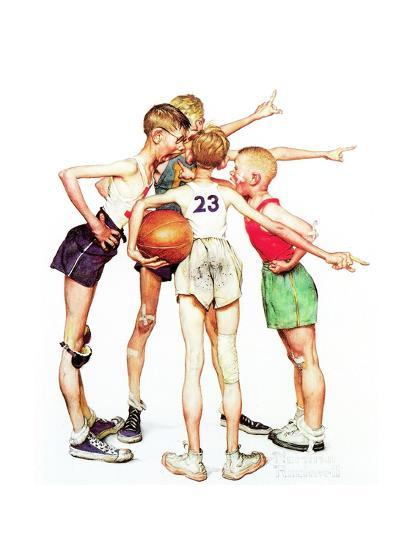 Four Sporting Boys: Basketball-Norman Rockwell-Giclee Print