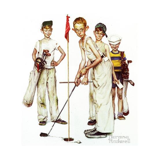 Four Sporting Boys: Golf-Norman Rockwell-Giclee Print