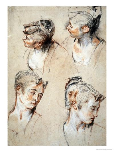 'Four Studies of a Young Woman's Head', 1716-1717-Jean Antoine Watteau-Giclee Print