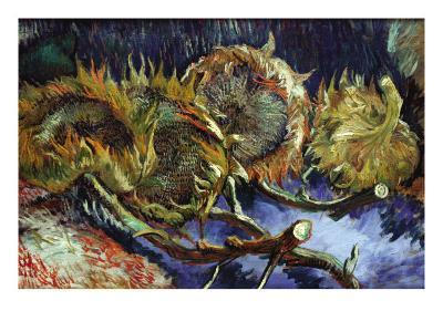Four Sunflowers Gone To Seed-Vincent van Gogh-Art Print
