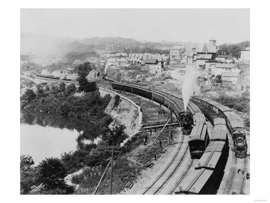 Four Trains Passing Little Falls Photograph - Colorado-Lantern Press-Art Print