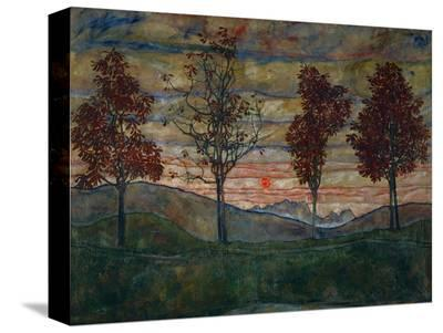 Four Trees, 1917-Egon Schiele-Stretched Canvas Print