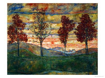 Four Trees, 1917-Egon Schiele-Giclee Print