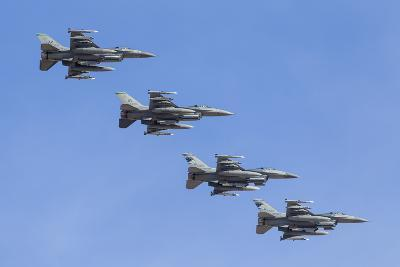Four U.S. Air Force F-16C Fighting Falcons in Echelon Formation-Stocktrek Images-Photographic Print
