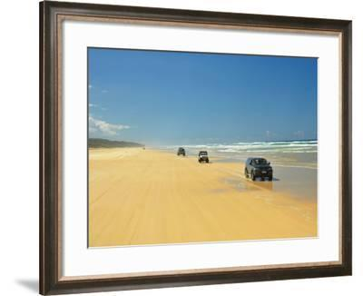 Four Wheel Drives, Seventy Five Mile Beach, Fraser Island, Queensland, Australia-David Wall-Framed Photographic Print