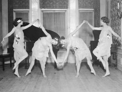 Four Young Women Performing Modern Dance--Photographic Print