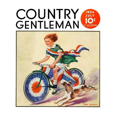 """Fourth of July Bike Ride,"" Country Gentleman Cover, July 1, 1934-John Drew-Giclee Print"