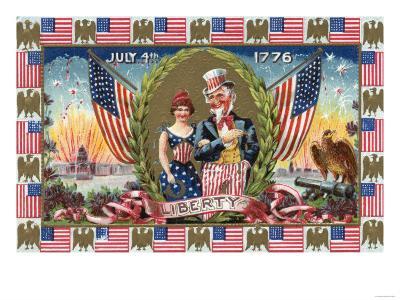 Fourth of July Greeting - Uncle Sam and Lady Liberty-Lantern Press-Art Print