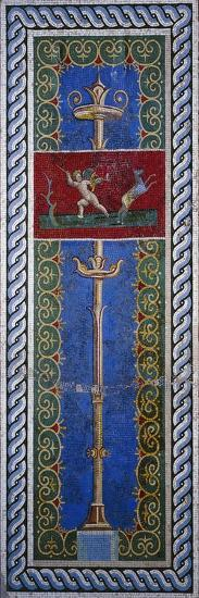 Fourth Style Mosaic of Wall Panel Depicting Candelabrum and Hunting Putto--Giclee Print