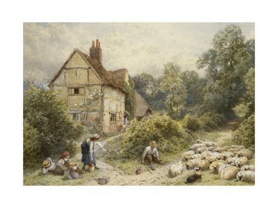 Fowl House Farm, Witley, with Children, a Shepherd and a Flock of Sheep Nearby-Myles Birket Foster-Giclee Print